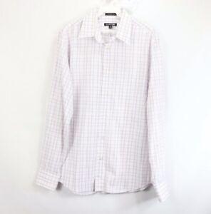 Express 1MX Mens Medium Modern Fit Long Sleeve Button Front Dress Shirt White
