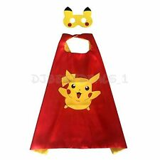 *Usa Seller* Cape And Mask Set New Pikachu Pokemon Double Sided Cape Custome