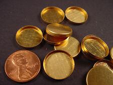 Brass Round Bezel Cups 15mm High Wall - 24 Pieces