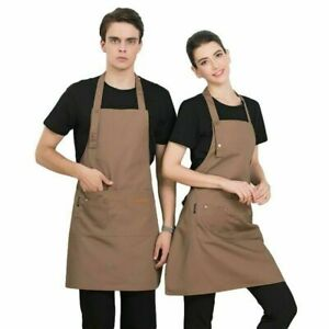 Work Apron Kitchen Pinafore Cafe Restaurant Workwear Bib Dress with Pocket