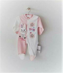 NEU Mädchen Baby Mode Kleidung Strampler Einteiler 56 62 68 Bunny Blumen Rosarot