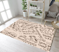 Musical Theme Music Notes Background Area Rugs Bedroom Living Room Floor Mat Rug