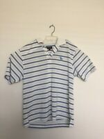Montery Club Men L  Spring White Stripped Short Sleeve Polo Golf Shirt