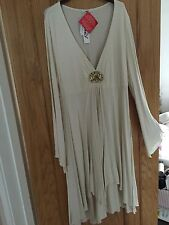 Pretty Cream Jersey Dress Large Party