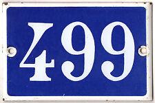 Old blue French house number 499 door gate plate plaque enamel metal sign steel