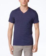 NWT Alfani Men's T-Shirt Navy Blue, Red Birdseye Stripe V-Neck Short Sleeve M