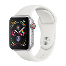 Apple Watch Series 4 40 mm Silver Aluminum Case with White Sport Band (GPS + Cellular) - (MTVA2X/A)