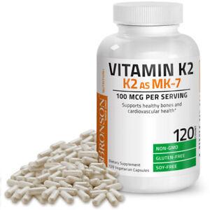 Bronson Vitamin K2 as MK-7 Menaquinone 100 mcg - Non-GMO, Gluten Free, 120 Caps