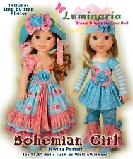"Pdf Dress Hat Pattern For 14.4"" American Girl Wellie Wishers Hearts 4 Hearts"