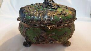 Victorian, Ornate Jewelry Box, Green Patina, Metal