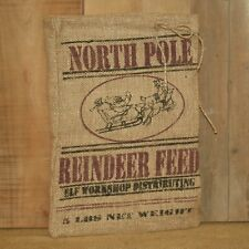 North Pole Reindeer Feed Burlap Bag Christmas