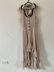 Voodoo Vixen Cream Victorian Frill Dip Hem Sheer Dress Linen Slip Size S A0308