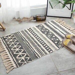 Floor Retro Rug  Rug Dining Room Woven Cotton Linen Carpet Geometric Floor Mat