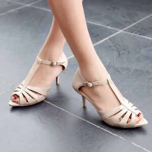 Ladies T-Strap Kitten Heel Patent Leather Mary Jane Sandals Womens Pumps Shoes D
