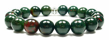 BRACELET - BLOODSTONE 10mm Round Crystal Bead w/Description- Healing Reiki Stone