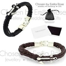 Mens Black / Brown Braided Leather Silver Anchor Bracelet Wrap Around Bangle New