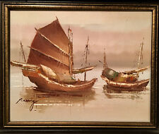 Peter Wong Signed Highly Listed Asian Boats Great Price Due to Size 12x14 Framed