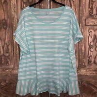 Lands End Women's Size XL Top Short Sleeve Ruffle Bottom Turquoise White Stripe