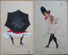 G. Mouton/Artist-Signed Collection 21 ORIGINAL 1910 PAINTINGS- Risque/Nude Women