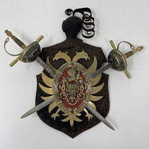 VTG Toledo Spanish Coat of Arms Plaque Crossed Swords Gothic Medieval Knight