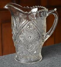 """CIRCA 1910 LANCASTER GLASS """"STIPPLED FANS"""" LARGE HANDLED PRESSED GLASS PITCHER"""
