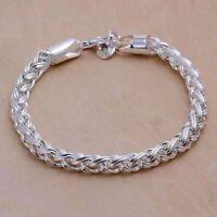 925 Silber 4 MM Armband Panzerkette Königskette Massiv Herren Männer Damen Neu