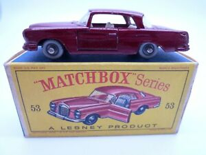 VINTAGE MATCHBOX LESNEY No.53b MERCEDES BENZ 220SE IN ORIGINAL BOX 1963 SPW