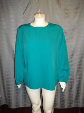 "Size 24 Agenda 1 button at neck bluish green long sleeve top Chest 56"" X Len 26"""