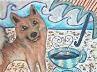 Finnish Spitz Collectible at the Beach ACEO PRINT Dog Art Card 2.5 X 3.5 KSAMS