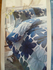 TEAL BLUE WHITE BOLD FLOWERS ELLE  DUVET COVER PILLOWCASE SET SINGLE BNWT