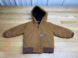 Baby 12M 12 M Months Carharrt Jacket Brown Duck Canvas Hooded Hood Zip Work COAT