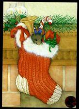Vintage Hallmark Christmas Mouse Stocking Horn Gifts Christmas Greeting Card New