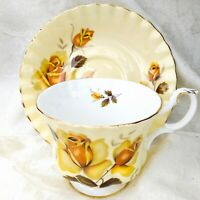 Vintage Royal Albert England Footed Tea Cup & Saucer Set Yellow Roses on Cream