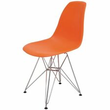 Set of 4 Mid Century Modern Eames Style Dining Chairs in Orange by Nuevo - NEW