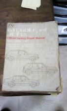 Volkswagen Official Factory Repair Manual For GTI, Golf and Jetta 1985-1987