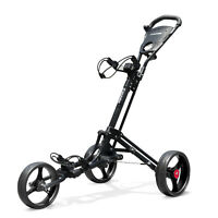 Vilineke OneClick Golf Push Cart 3 Wheels Quick Fold and Light Trolley-Red