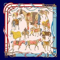"Women's Fashion Square Scarf Horse Print Soft Satin Shawl Hijab Scarves 35""*35"""