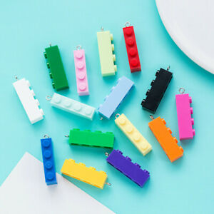 10pc/lot 15 Colors PVC Building Blocks Charm Pendant DIY Keychain Jewelry Making