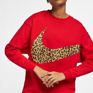 Women's Nike Air Crew Neck Oversized Animal Print Jumper Size Small Sweatshirt