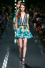 ELIE SAAB Plunging Low Cut Water Color Print Dress 40 8