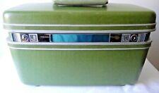 Vintage Samsonite Silhouette Train Makeup Case w/key Hard Shell Luggage Green VG