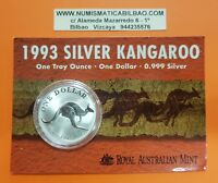 AUSTRALIA 1 DOLLAR 1993 KANGAROO SILVER $1 OZ ONZA BLISTER Plata CANGURO KÄNGURU