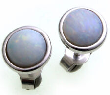 Women's Earrings real Opal 8 mm real gold 585 Stud White gold Studs Quality