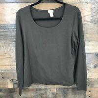 J Jill Women's Brown Long Sleeve Scoop Neck Stretch Top Size Large