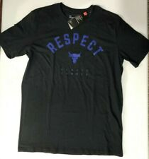 UNDER ARMOUR PROJECT ROCK  USDNA RESPECT ALWAYS EARNED  BLACK T-SHIRT Men's SZ S