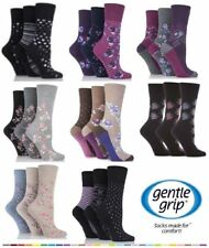 Ladies Gentle Grip Socks 3,6,Pair NON ELASTIC Soft Cotton Honeycomb Top Size 4-8