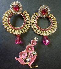 Indian Gold Plated Pink Stone Studded Round Earrings and Broch Combo Fashion
