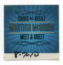Martina McBride 2010 Shine All Night Tour Meet & Greet Satin Backstage Pass