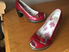 Dr Martens Latoya red peep toe heel shoes UK 6 EU 39 marlena