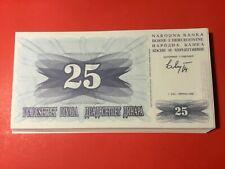 New ListingBosnia - Herzegovina 25 dinara 1992 pick #11a Bundle 100 pcs